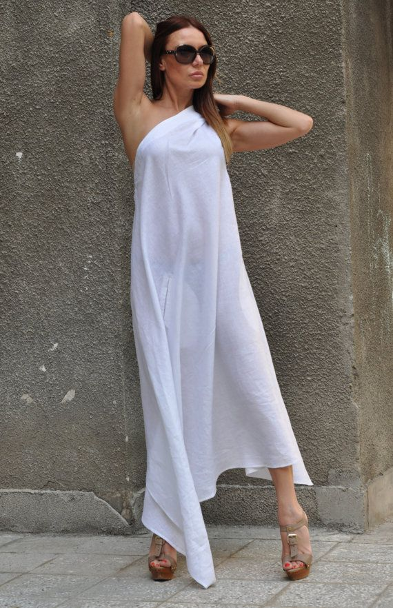 40a5dcbbad Casual Linen White Dress for Womens