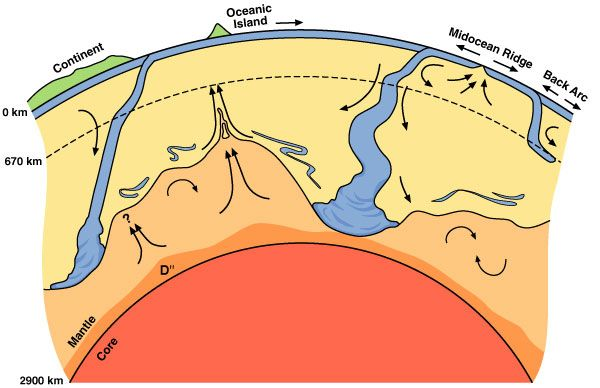Cartoon of convecting mantle showing cold down wellings cartoon of convecting mantle showing cold down wellings subducting slabs in blue and hot upwellings from the core mantle boundary plumes in orange sciox Gallery