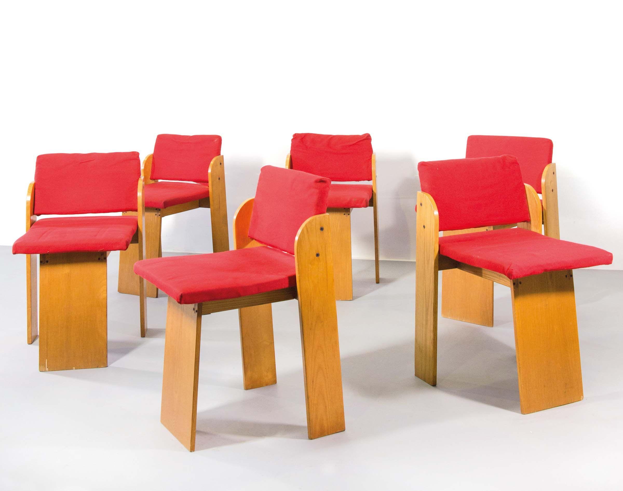 Imbottitura Sedie ~ Sergio asti sei sedie in larice con rivestimento in tessutoprod