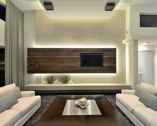 Sparkly back wall looks so you modern family room - Modern family room design ideas ...