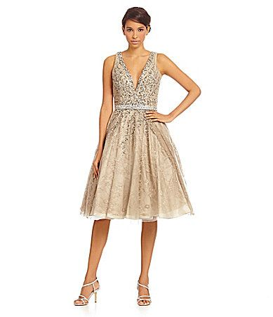 Mac Duggal Beaded TeaLength FitandFlare Dress #Dillards | The ...