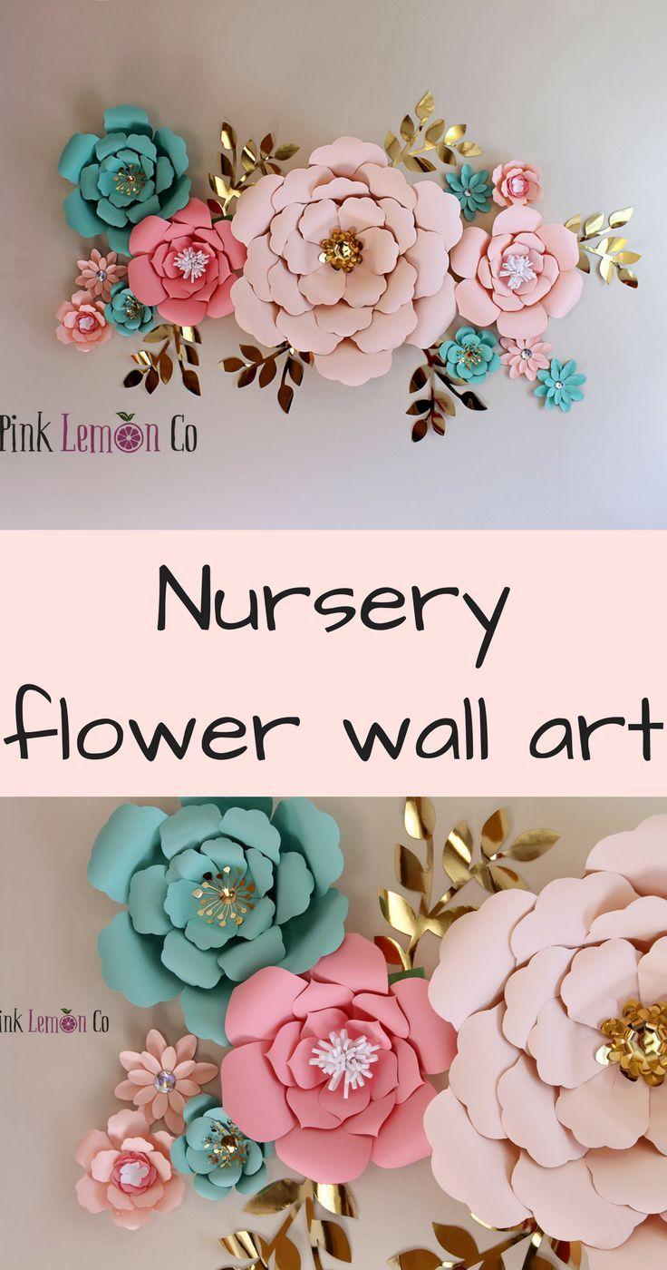 Nursery name sign girl nursery wall art paper flowers baby shower decor nursery decor flower backdrop giant paper flowers nursery w