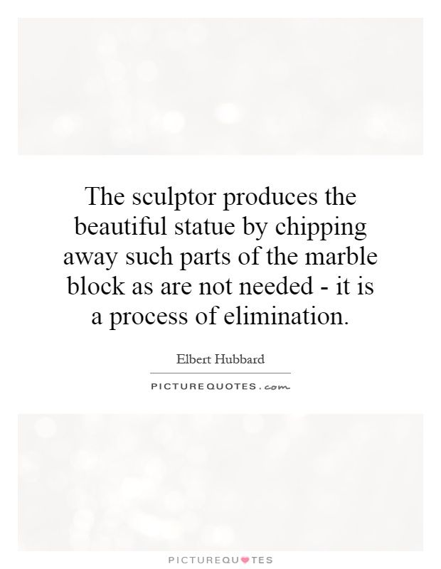 Statue Quotes Simple The Sculptor Produces The Beautiful Statuechipping Away Such
