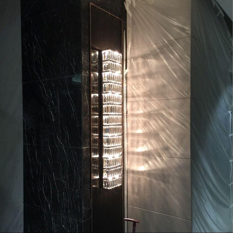 Parlor Tall Crystal Wall Lamps Ktv Large Modern Long Sconce Abajur Hallway Living Room Led Indoor Lights