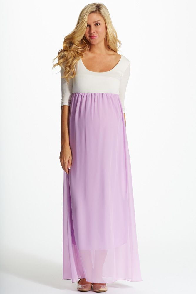 fa16bb1356cb1 With a vibrant hue and gorgeous chiffon accent, this colorblock ¾ sleeve maxi  dress is the perfect staple for your spring to summer wardrobe.