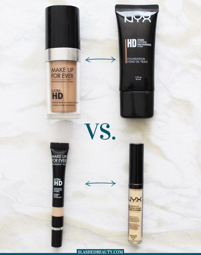 Are the NYX HD products actually Make Up For Ever dupes? Check out my comparison between the NYX HD Foundatino and Concealer and the Make Up For Ever Ultra HD Foundation and Concealer. | Slashed Beauty