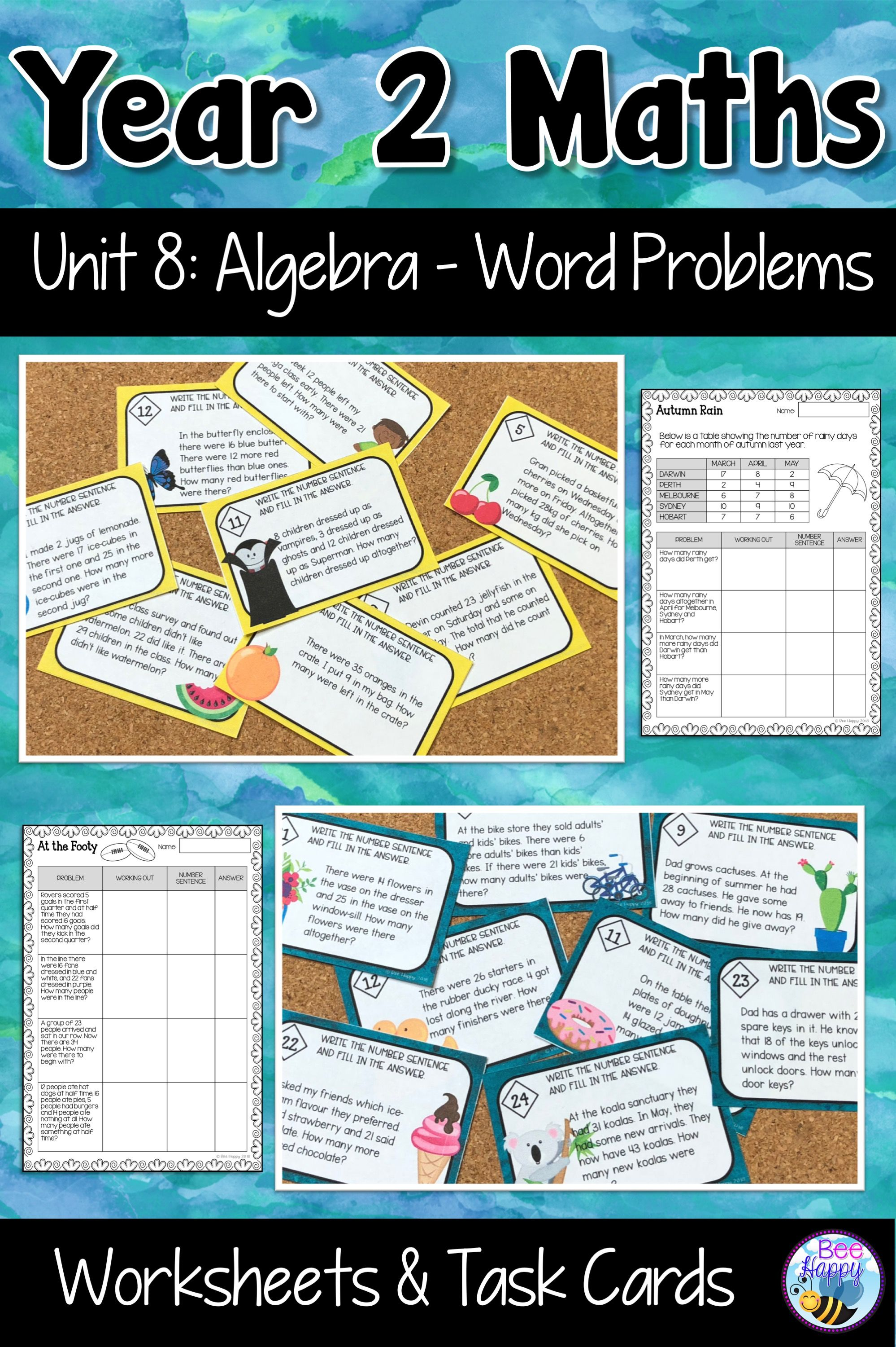 Australian Curriculum Word Problems Worksheets and Task Cards Year 2 ...