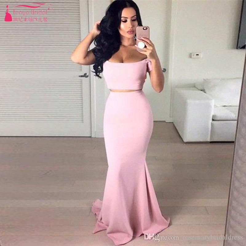 Pink Mermaid Long Prom Dresses Sexy Two Pieces Elegant Evening ...