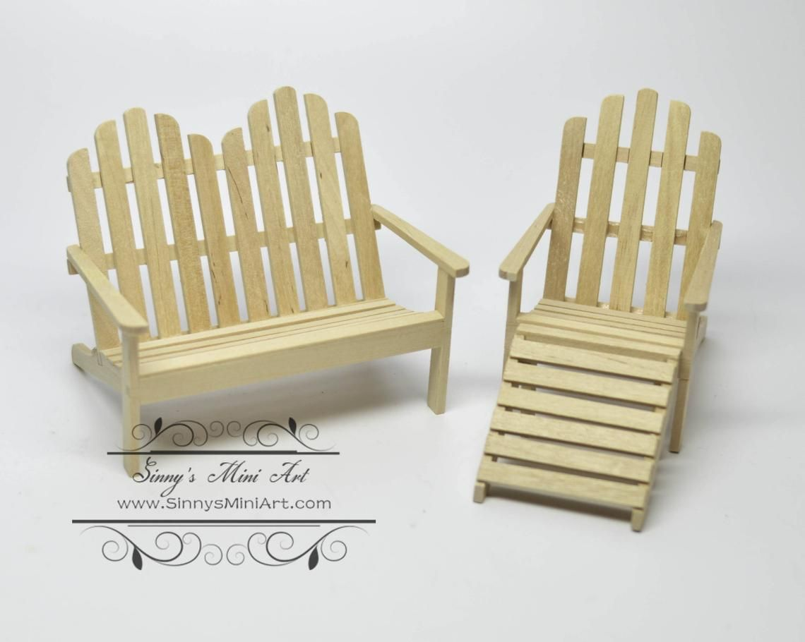 1 12 Dollhouse Miniature Unpainted Adirondack Chair With Etsy With Images Doll House Popsicle Crafts Dining Room Chairs Ikea