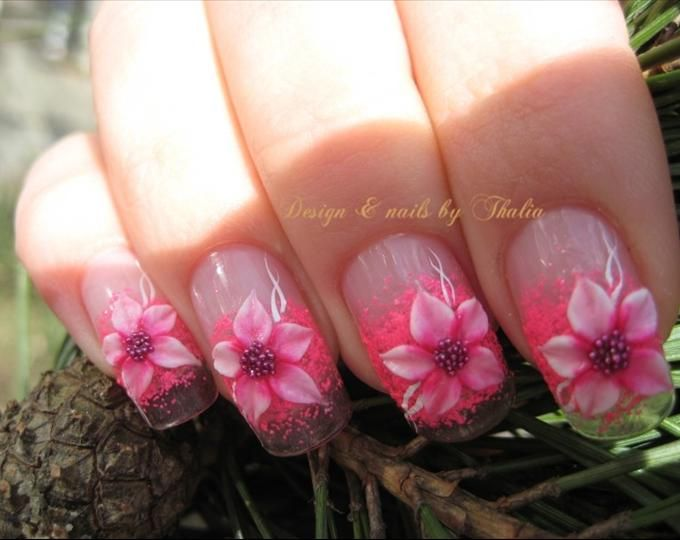 flower acrylic nail design flowers