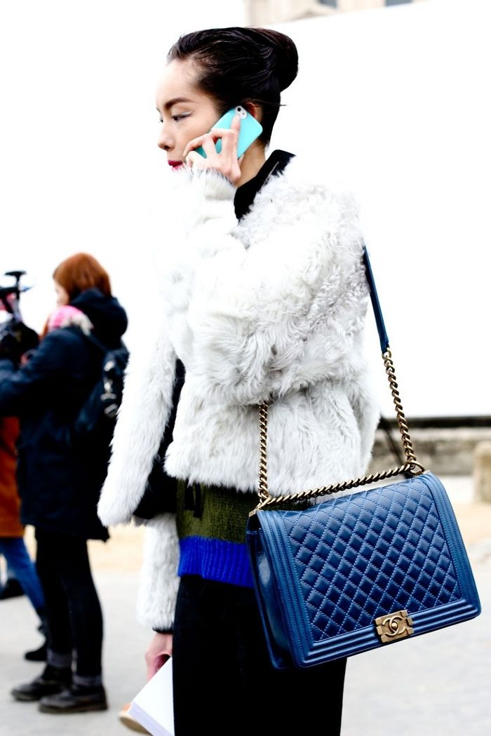 Chanel Boy Large Bright Blue White Fur Perfect Contrast