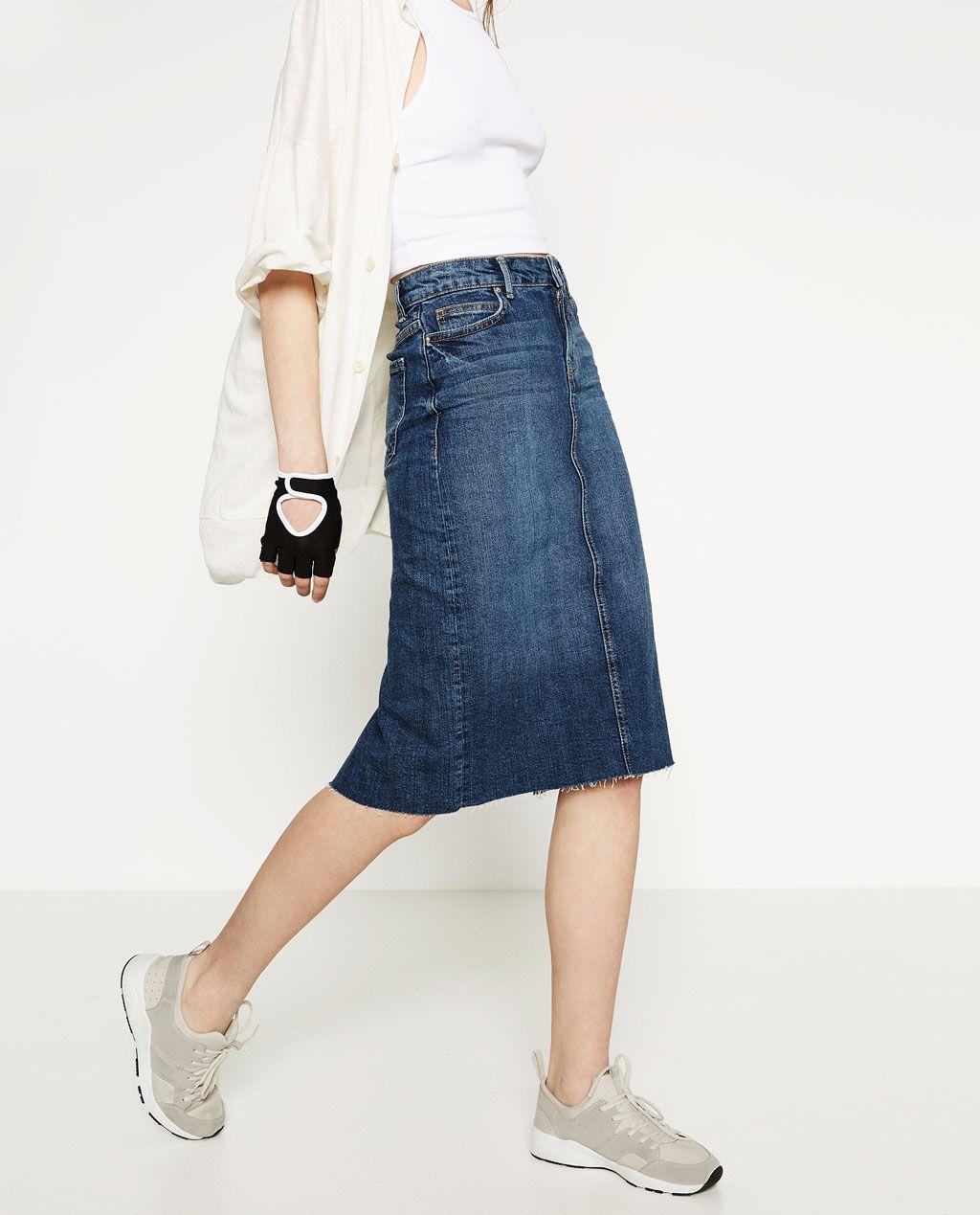 Denim Midi Skirt Clothes Pinterest Jupes En Jean Jupe Femme
