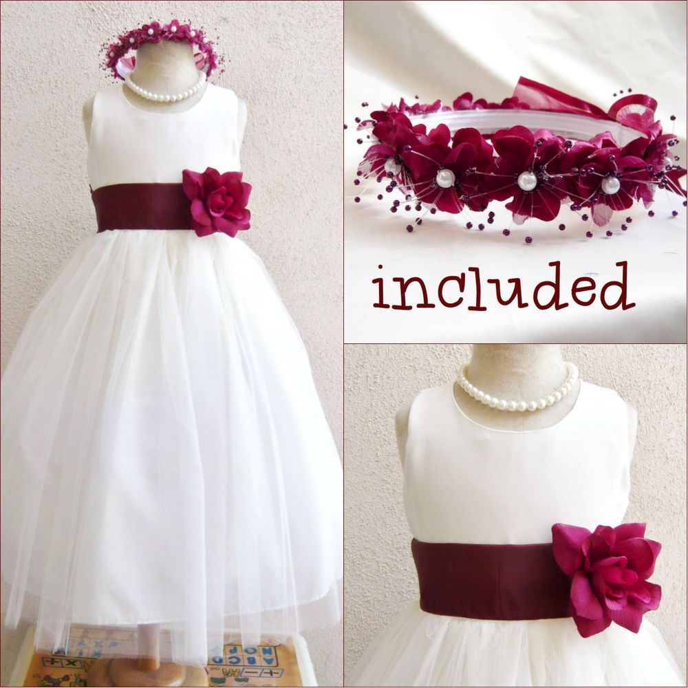 Gorgeous Ivoryburgundy Wine Tulle Flower Girl Dress Free Headpiece