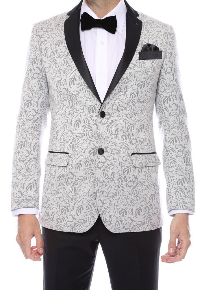266bce801a1 Notch Lapel 2 tone Paisley Blazer for Men Tuxedo Jacket slim fit vented  Silver #ferrecciPandorastyle #TwoButton