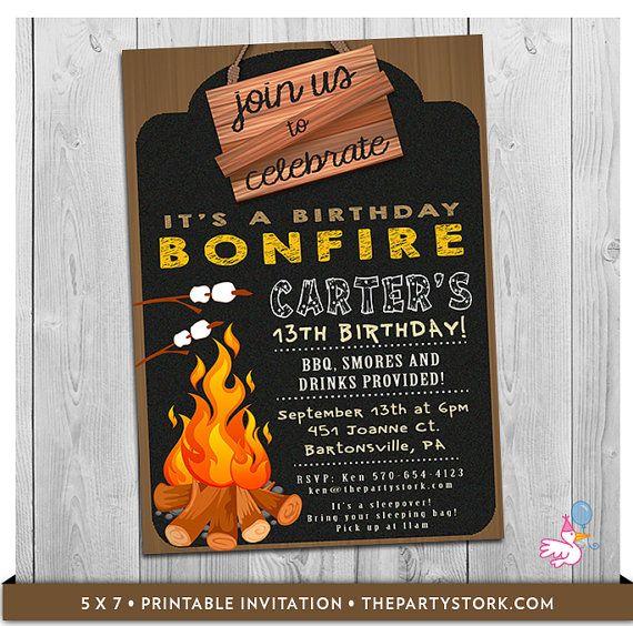 Bonfire Birthday Invitation Bonfire Invitation Campfire Invitation