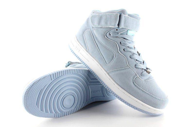 Zamszowe Buty Sportowe Za Kostke B777 Blue Niebieskie High Top Sneakers Shoes Sneakers