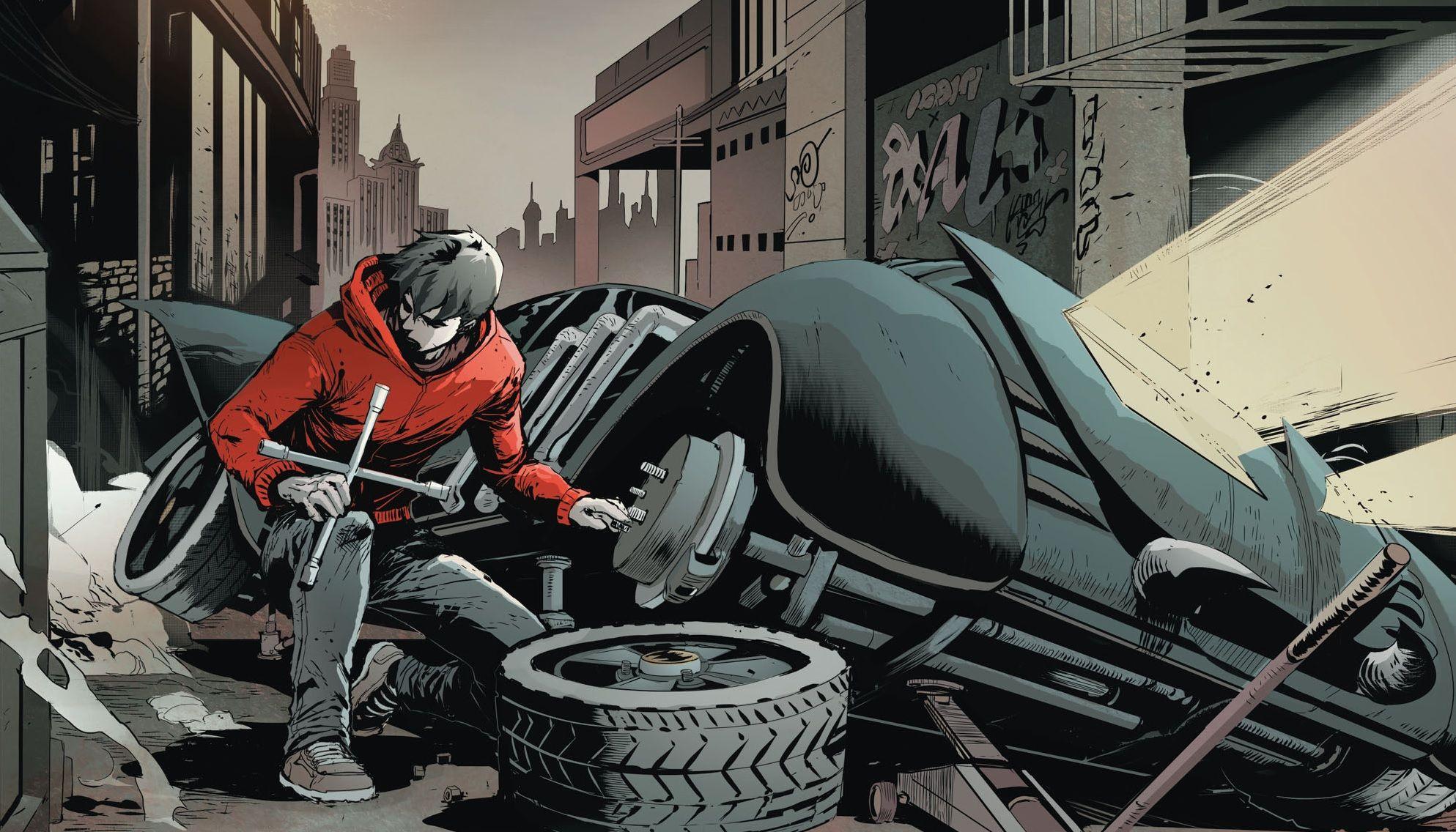 Jason Todd steals a wheel off the batmobile Bruce Wayne Batman ...