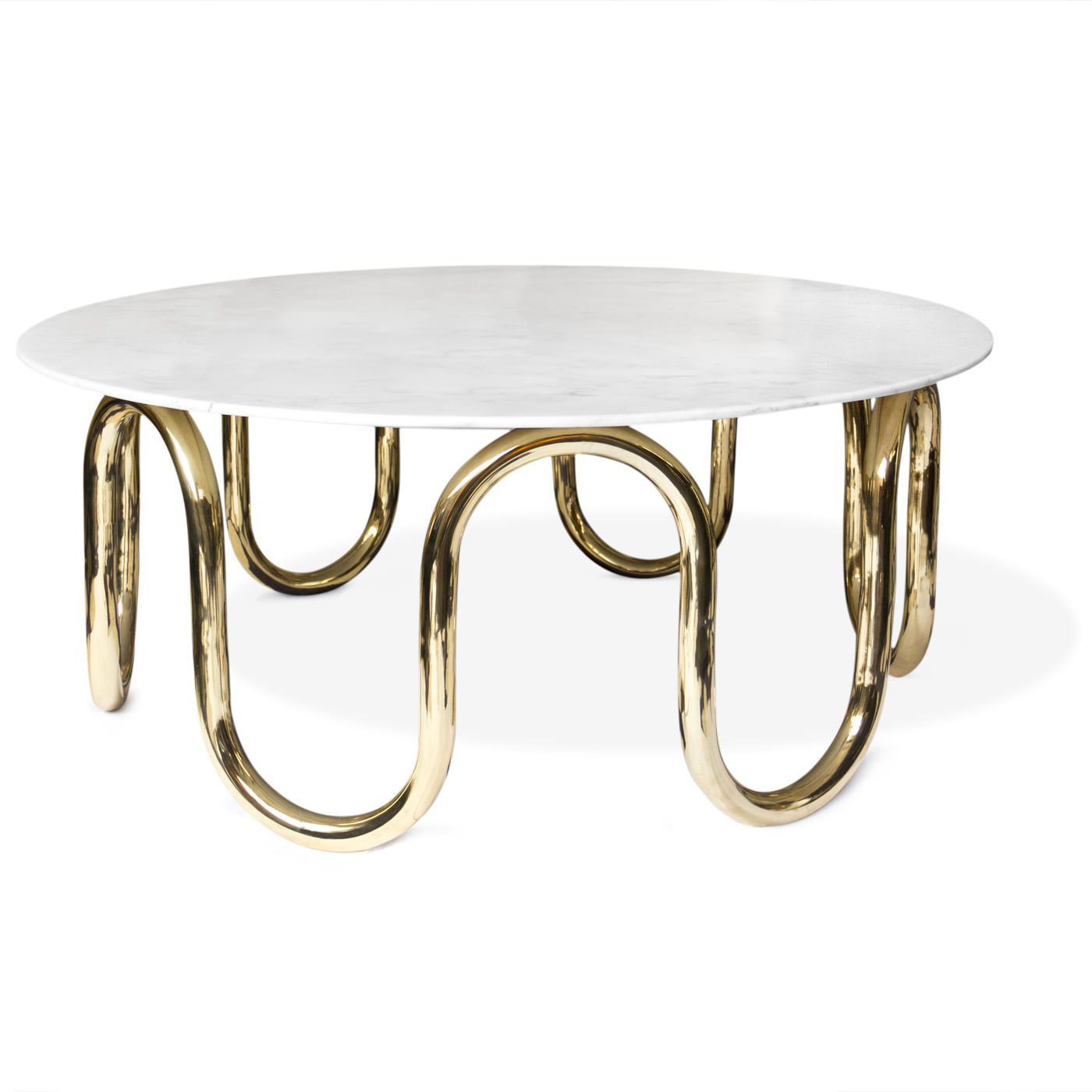 "Scalinatella Cocktail Table 38"" Diameter 15 75"" H Carrara marble"