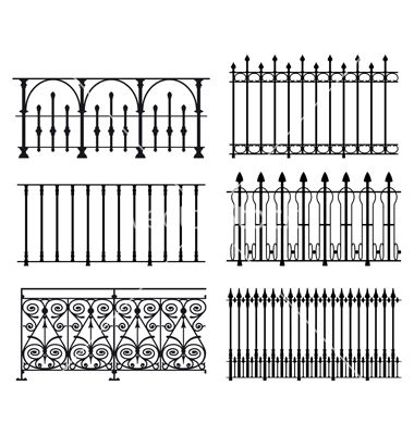Railings And Fences Vector Image On Iron Railing Iron Stair Railing