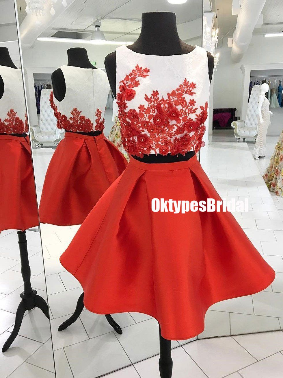 Sexy two pieces unique homecoming dresses red homecoming dresses