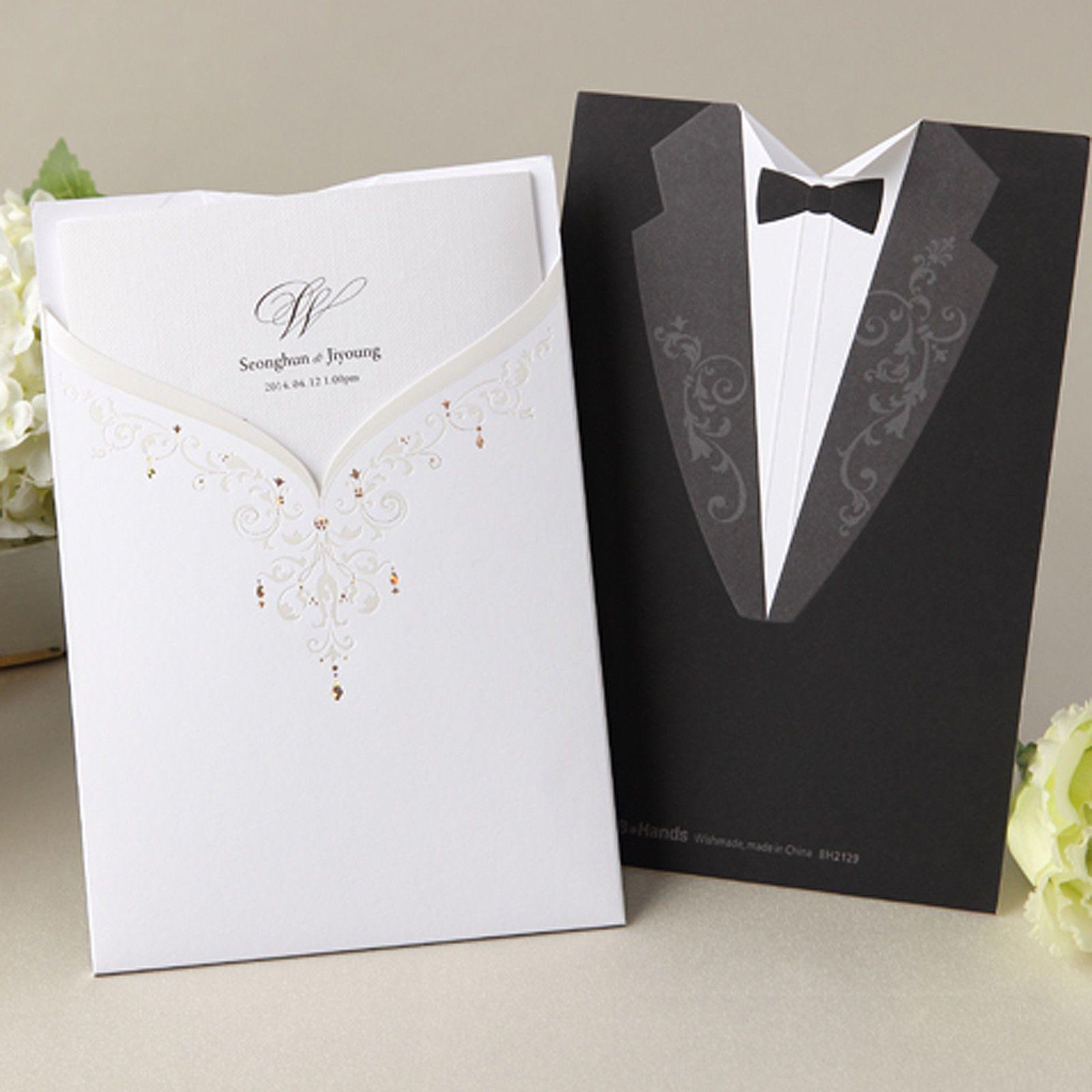 sample spanish wedding invitations%0A B Hands Card   Sample Set Wedding Luxury Invitation Dress Tuxedo Tie BH       blackandwhite