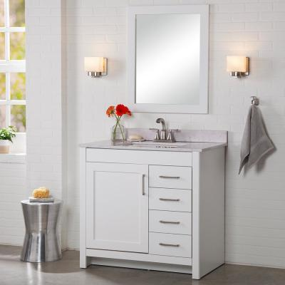 Westcourt 37 In W X 22 In D X 38 50 In H Bath Vanity In White With Stone Effect Vanity T Bathroom Vanities Without Tops White Vanity Bathroom 36 Inch Vanity