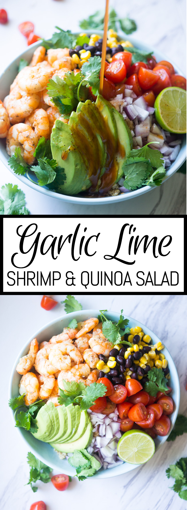 Garlic Lime Shrimp and Quinoa Salad. A zesty, nutrient dense salad that will wow your guests with its amazing fresh flavors!
