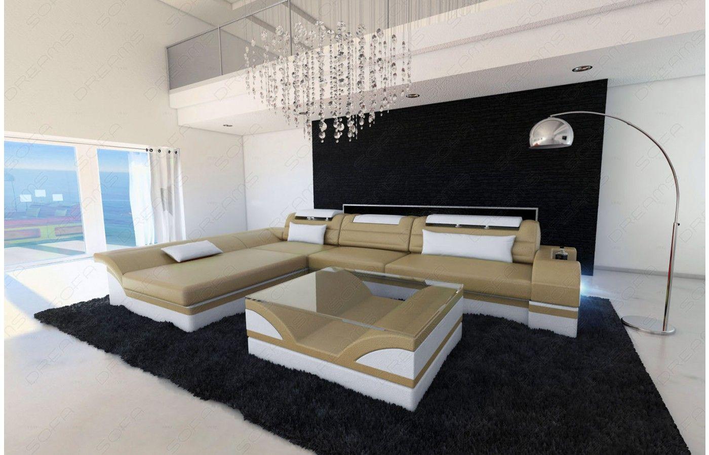Ledersofa modern beige  Designer Ledersofa MONZA L Form in beige-weiß - Exklusiv bei #Sofa ...
