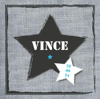 Geboortekaartje Vince www.hetuilennestje.nl Jute, ster, stoer.