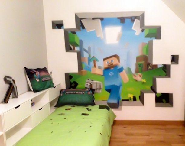 sticker mural minecraft chambre minecraft pinterest. Black Bedroom Furniture Sets. Home Design Ideas