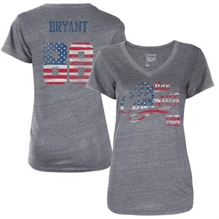 e7c3b0c3e Womens Cowboys Dez Bryant Gray Banner Wave T-shirt