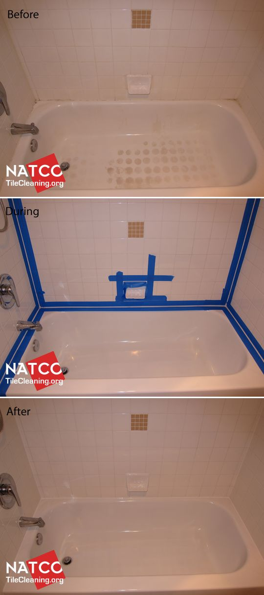 Cleaning bathtub and white bathtub surround tiles and re-caulking ...