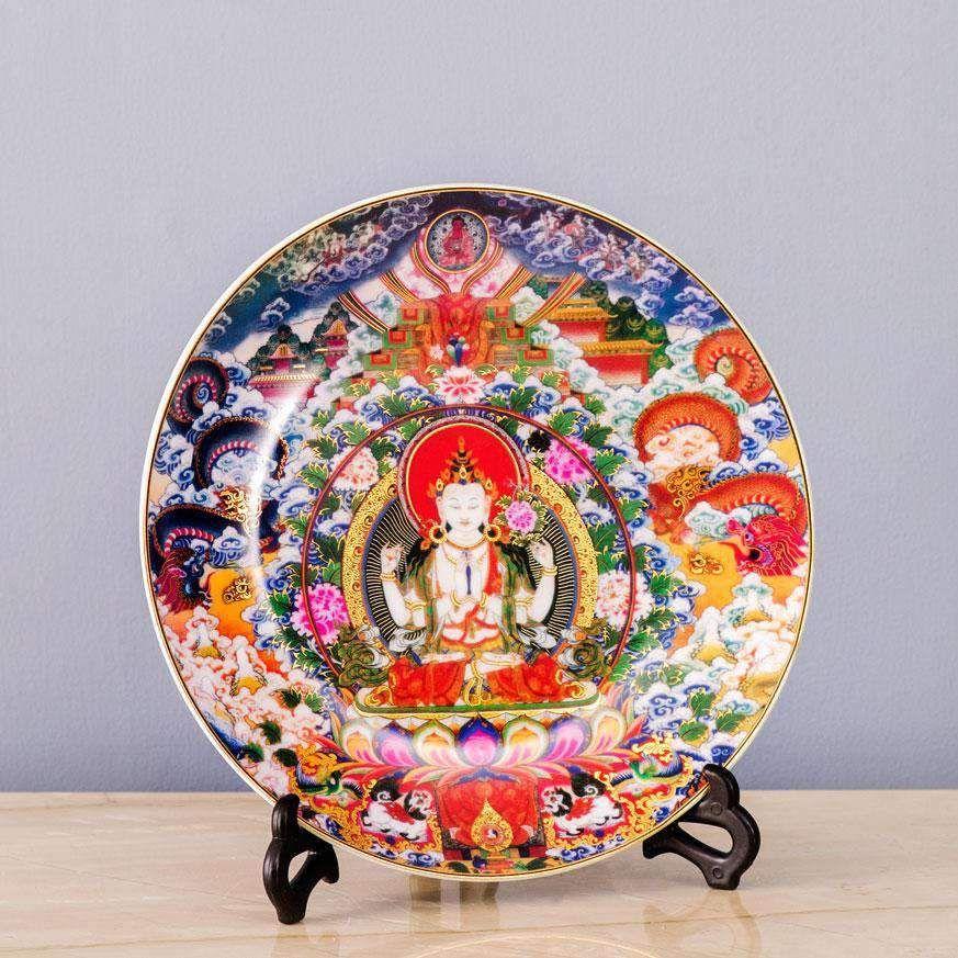 Avalokiteshvara Decorative Display Plate Thedecorkart Plate Display Wall Mounted Vase Ceramic Incense Holder