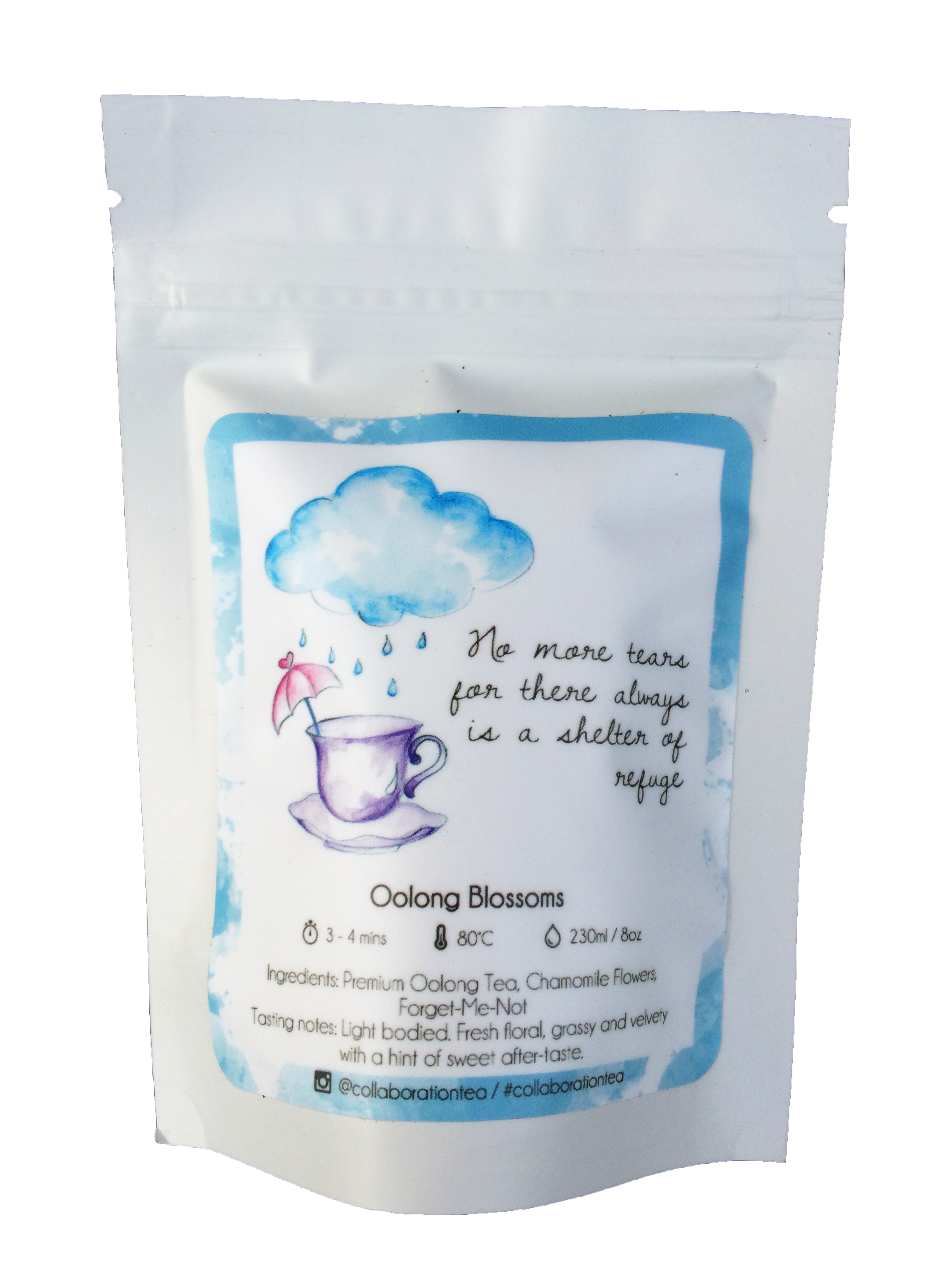Oolong Blossoms - Let the natural floral aroma of this blend whisk you into flowery dreams. Each Oolong leaf perfectly roasted to provide the perfect base for this blend. We absolutely love how the whole Chamomile flowers in this blend further enhance the fragrant notes of the Oolong making the two ingredients a perfect complement.   Premium Oolong Tea, Chamomile Flowers, Forget-Me-Not www.collabtea.com