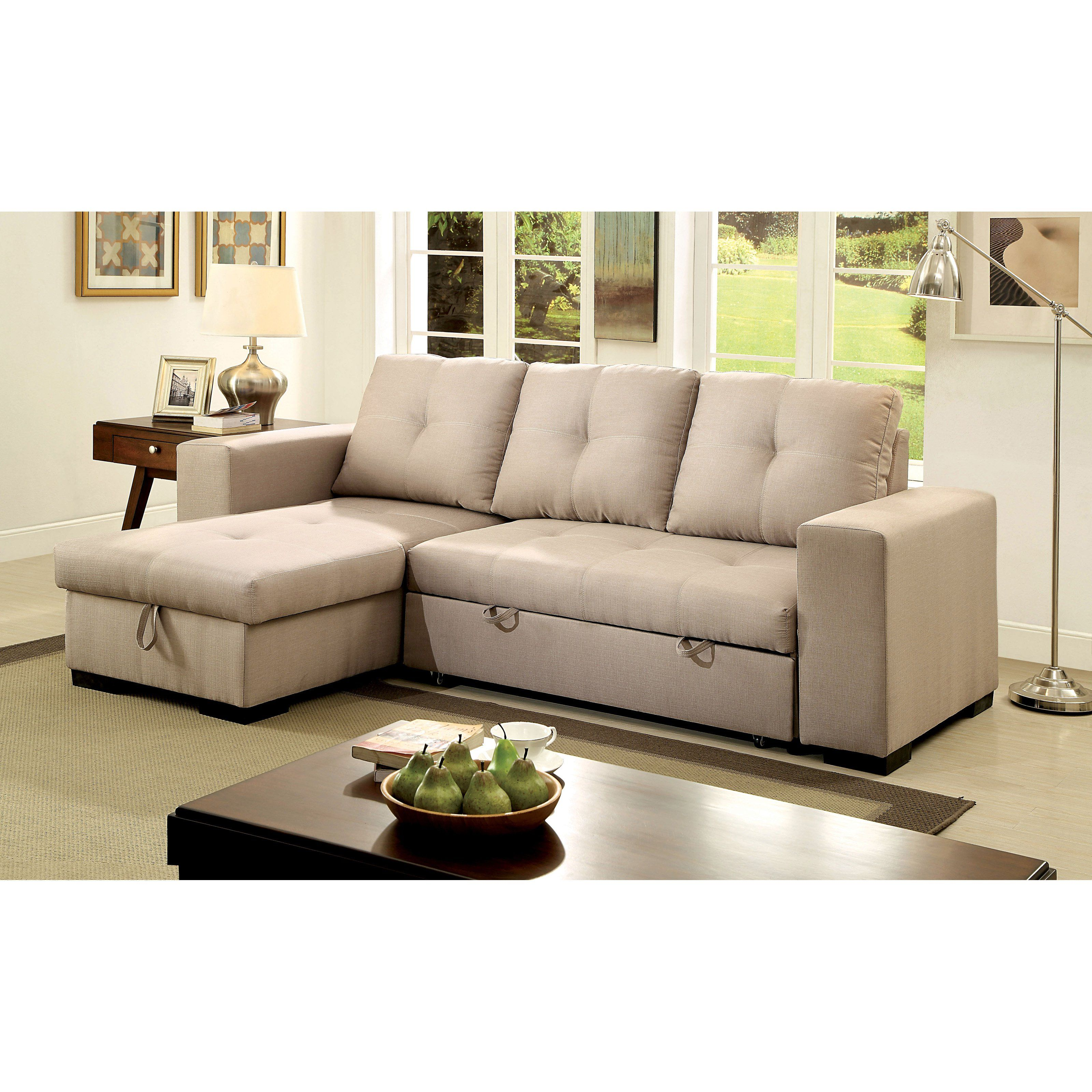 Furniture of America Rhea Sectional Sofa with Pull Out ...