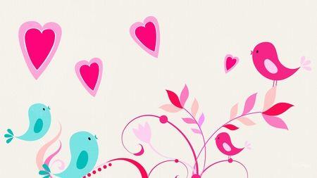 Blue Bird Pink Bird Cute Tree Hearts Limbs Love Birds Birds Leaves Whimsical Va Cartoon Wallpaper Iphone Cute Girl Wallpaper Cute Wallpapers For Ipad