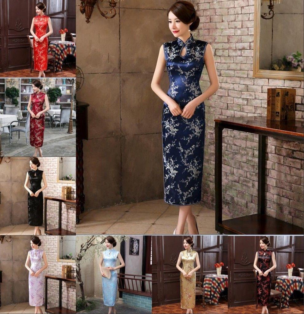 Chinese womenus silk long dress evening dress cheongsam sz