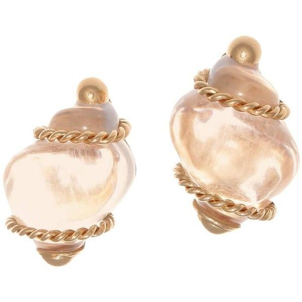 Seaman Schepps Rock Crystal Gold Seashell Earrings liked on