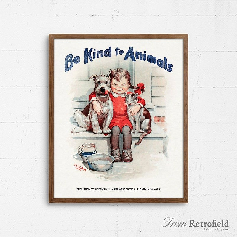 Be kind to animals poster printable animal rights welfare