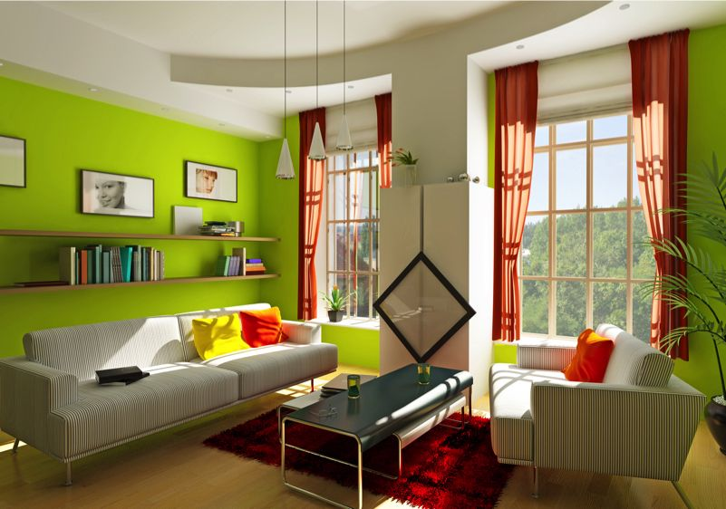 The Lime Green Walls In This Living Room Add A Real Sense Of Life And Vitality Along With The Red Fl Modern Living Room Interior Living Room Green Green Rooms