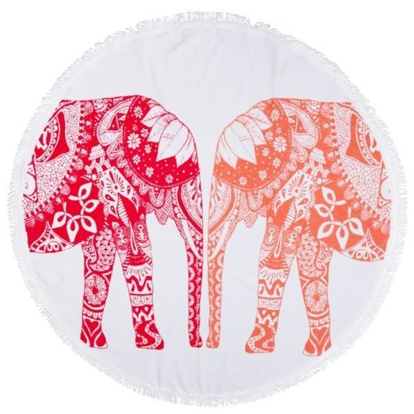 Crown  Ivy  Reef Glow Elephant Trunk Beach Towel ($33) ❤ liked on Polyvore featuring home, bed & bath, bath, beach towels, reef glow, round beach towel and circular beach towel