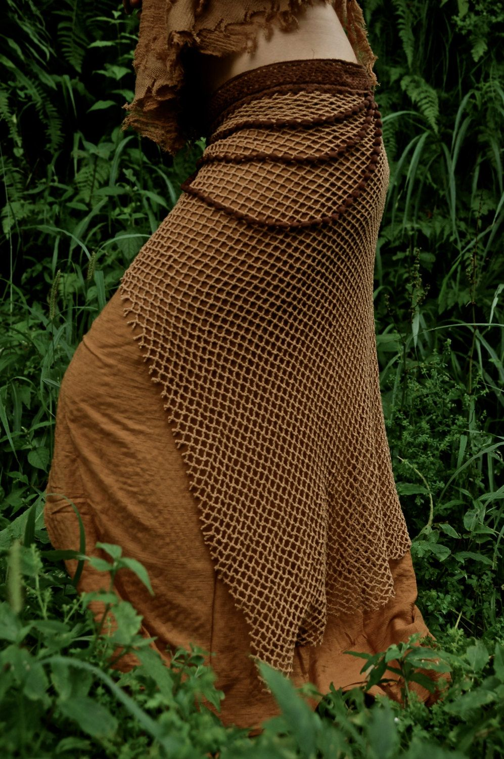Terracota brown pure cotton earthy long skirt by anuttaracrafts