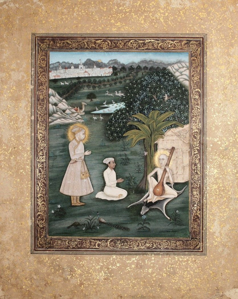 Emperor Akbar With Musician Tansen Before Tansen S Guru Haridas