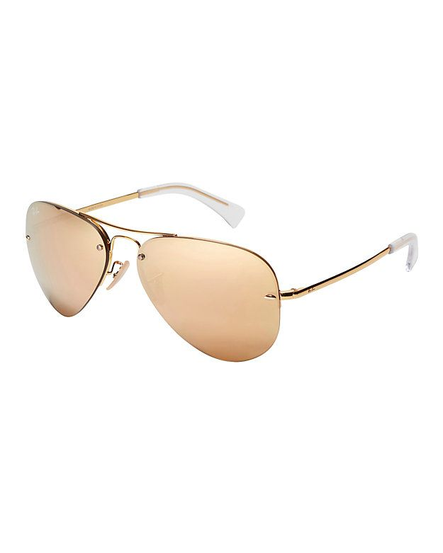 a47ed0bb8e31 Ray-Ban Rimless Metallic Aviator Sunglasses: An update on the classic aviator  sunglasses with a rimless frame. Brow bar. 100% UV protection. In rosegold  ...