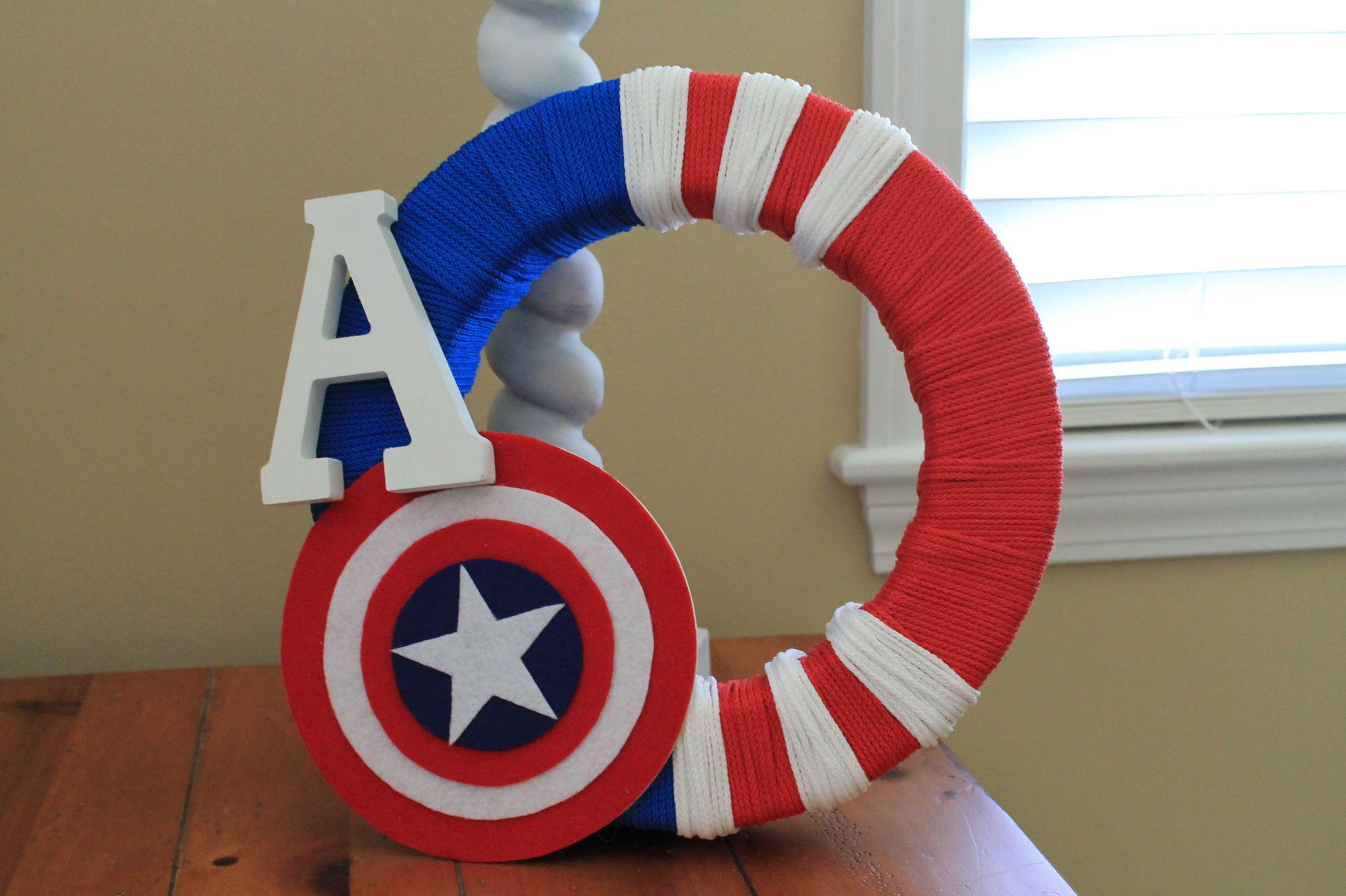 Diy Captain America Wreath Captain America Birthday Captain America Birthday Party Captain America Party