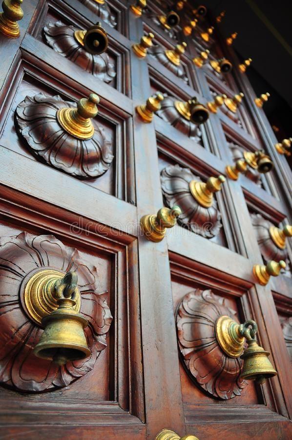 Pooja Room Door Designs With Bells: Photo About Bells On Door Of Indian Temple. Image Of Door