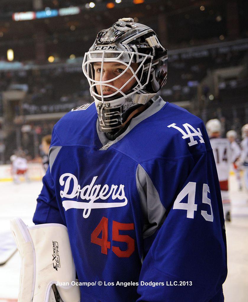 LA Kings Goaltender Jonathan Bernier wearing a Dodgers Hockey jersey.  Awesome!! 1b00c5a1733