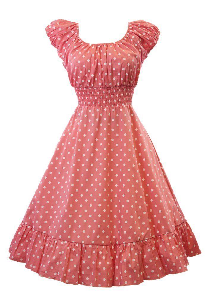 Sidecca Retro 1950s Polka Dot Smock Swing Dress at Amazon Women\'s ...