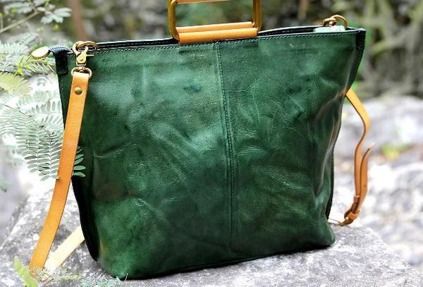 Handmade vintage handbag green black shoulder bag tote bag
