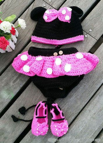 Hot Pink MINNIE MOUSE Crochet Hat, Diaper Cover and Booties Set ...